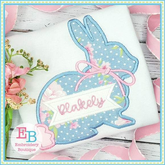 Simple Bunny Bow Satin Applique-Embroidery Boutique