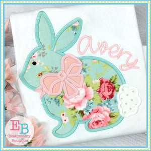 Bunny 2 with Bow Applique