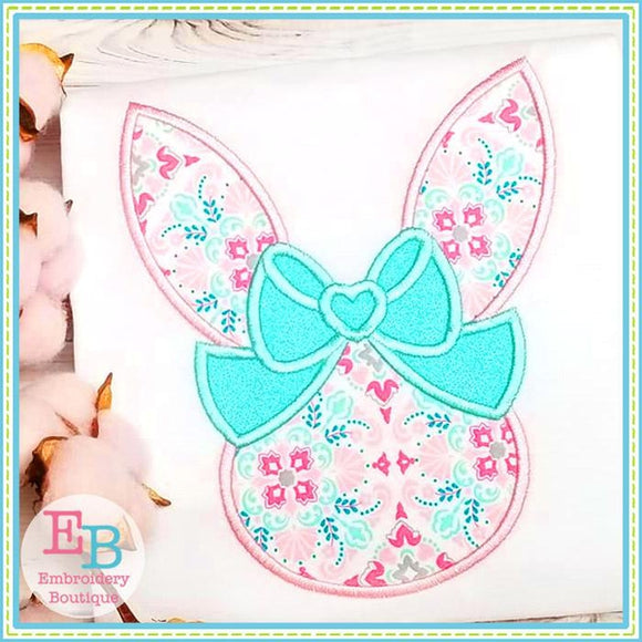 Bunny Head Big Bow Satin Applique
