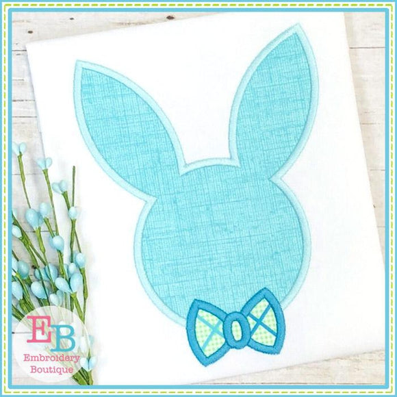 Bunny Head Bowtie Satin Applique
