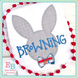 Bunny Head Bowtie Zigzag Applique