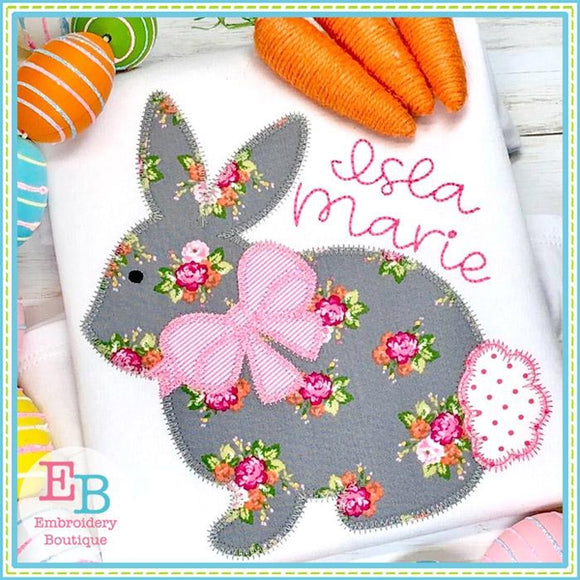 Bunny 2 with Bow Zigzag Applique