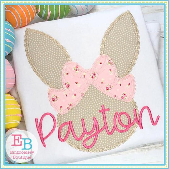 Bunny Head Big Bow Zigzag Applique