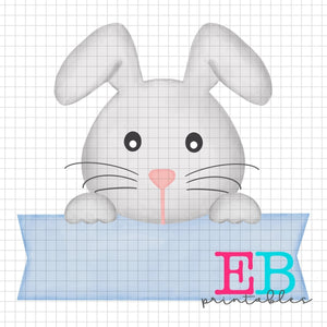 Boy Bunny Banner Printable Design PNG