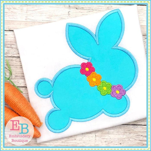 Bunny Silhouette with Flower Necklace Satin Applique