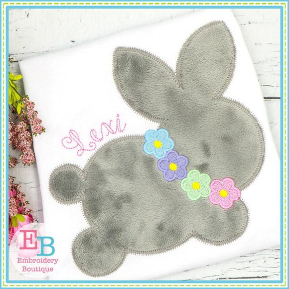 Bunny Silhouette with Flower Necklace Zigzag Applique