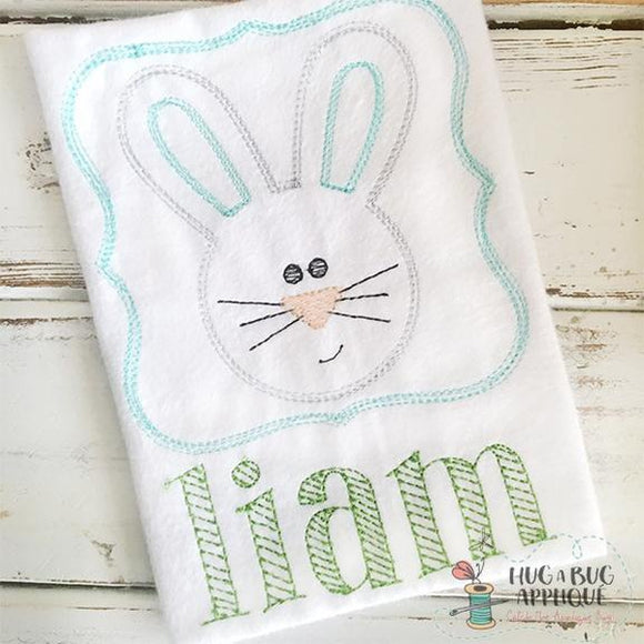 Bunny Frame Scribble Stitch Embroidery Design, Embroidery