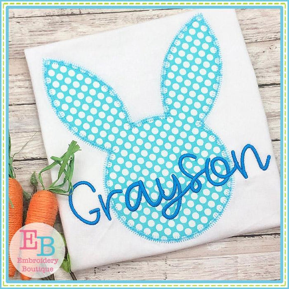 Bunny Head Silhouette Zigzag Applique