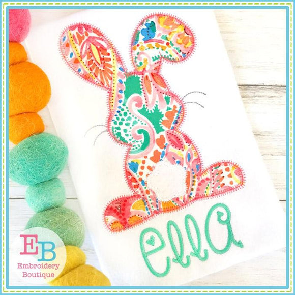 Bunny Backside Zigzag Applique