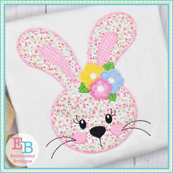 Sweet Lil Bunny Girl Face ZigZag Applique