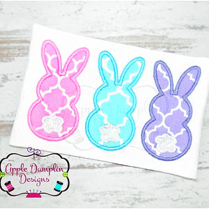 Bunny Trio Applique Design, applique