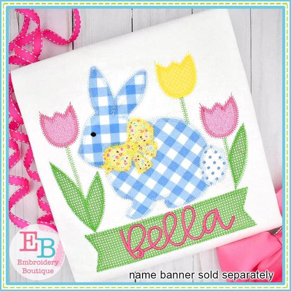 Bunny Bow with Tulips Applique
