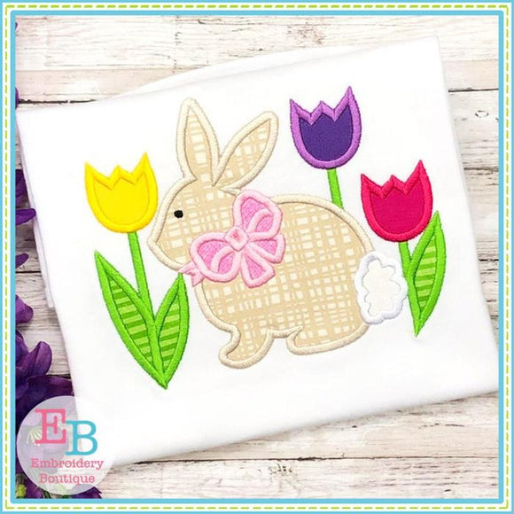 Bunny Bow with Tulips Satin Applique, Applique