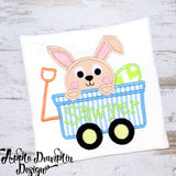 Bunny in Wagon Applique, applique