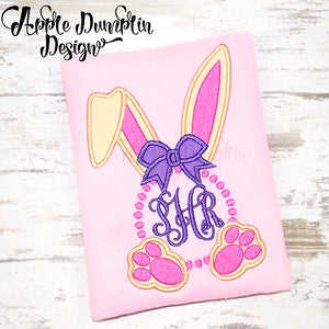 Bunny with Bow Circle Frame Applique Design, applique