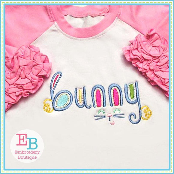 Bunny Word Art Design, Applique