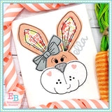 Bunny Face Bow Bean Stitch Applique, Applique