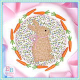 Bunny Bow Carrot Circle Applique, Applique