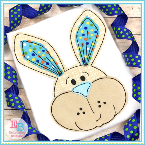 Bunny Face Boy Bean Stitch Applique, Applique