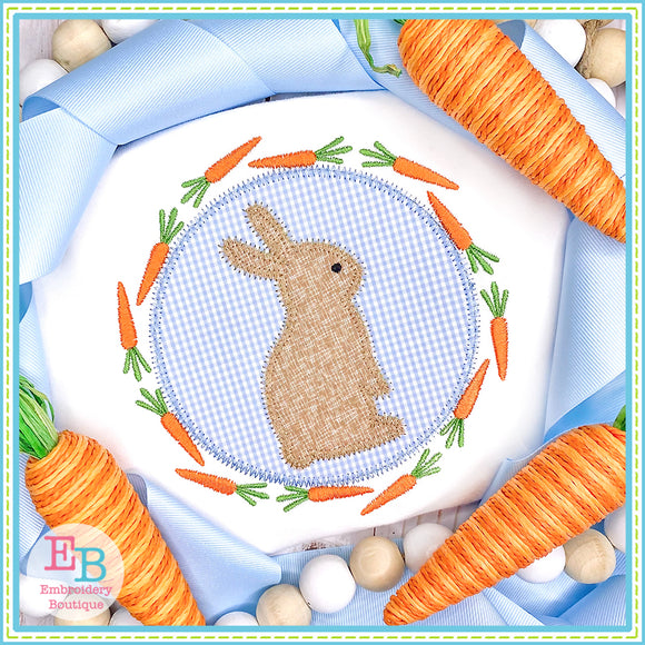 Bunny Carrot Circle Applique, Applique