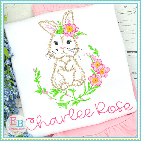 Bunny Floral Frame Embroidery Design, Embroidery