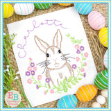 Bunny Floral Wreath Embroidery Design, Embroidery