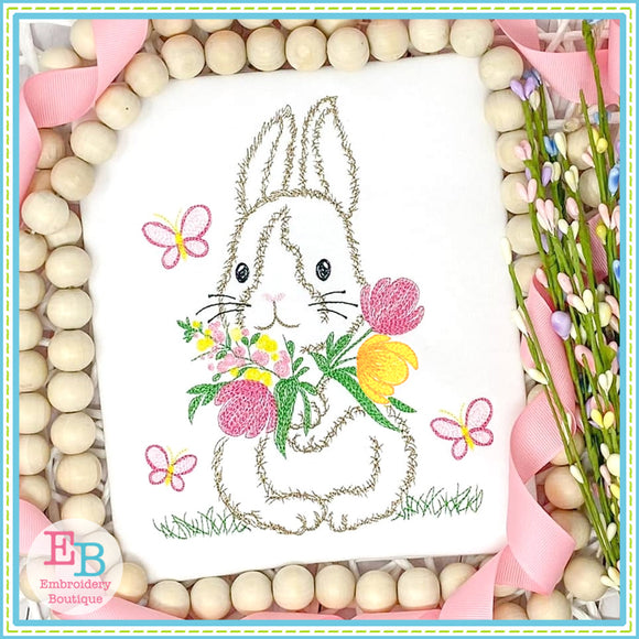 Bunny Butterflies Watercolor Embroidery Design