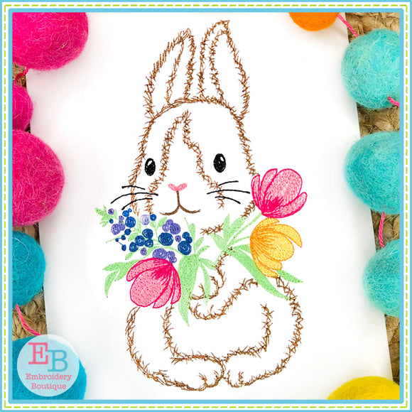 Bunny Flowers Watercolor Embroidery Design