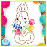 Bunny Flowers Watercolor Embroidery Design, Embroidery