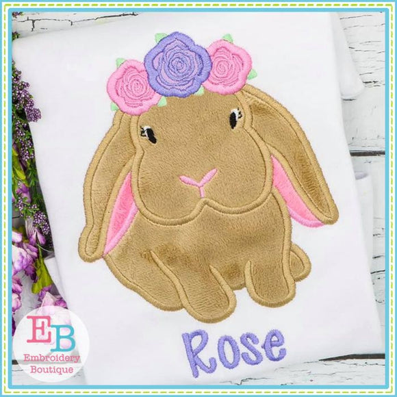 Bunny Rose Crown Applique - embroidery-boutique