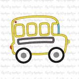 Bus Satin Stitch Applique Design, Applique