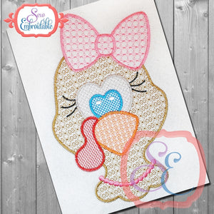 Motif Girl Turkey Head Embroidery Design