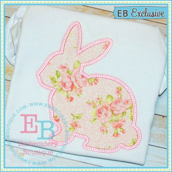 Satin Bunny Outline Applique