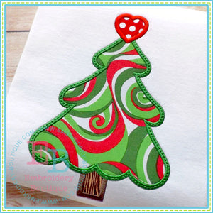 Christmas Tree Heart Applique, Applique