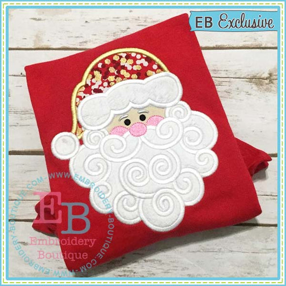 Swirly Beard Santa Applique, Applique