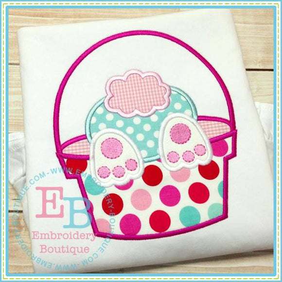 Bunny Behind Basket Applique