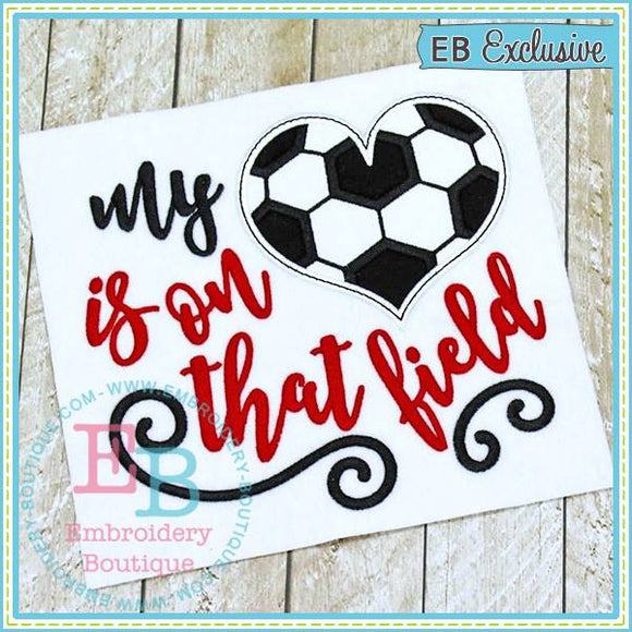 My Heart on Field Soccer Applique, Applique