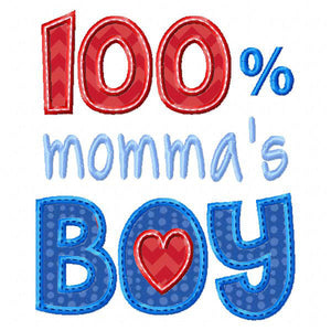 100% Momma's Boy Applique - embroidery-boutique