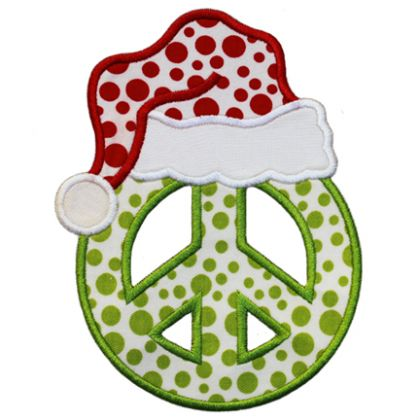 Santa Peace Sign Applique