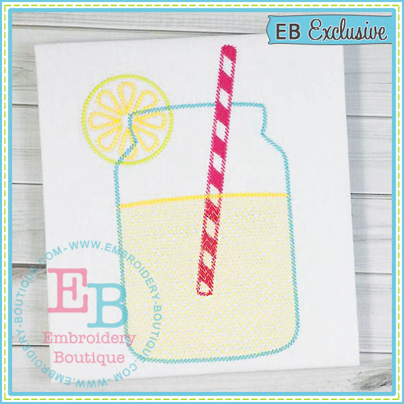 Sketch Lemonade Mason Jar, Embroidery