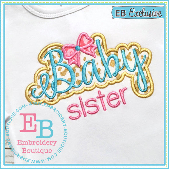 Baby Sister Bow Applique