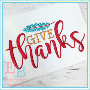 Give Thanks Embroidery Design - embroidery-boutique