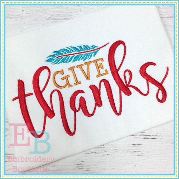 Give Thanks Embroidery Design, Embroidery