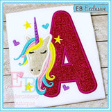 Unicorn Applique Alphabet, Applique Alphabet