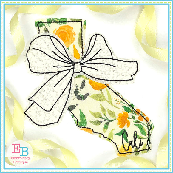 Big Bow California Bean Stitch Applique, Applique