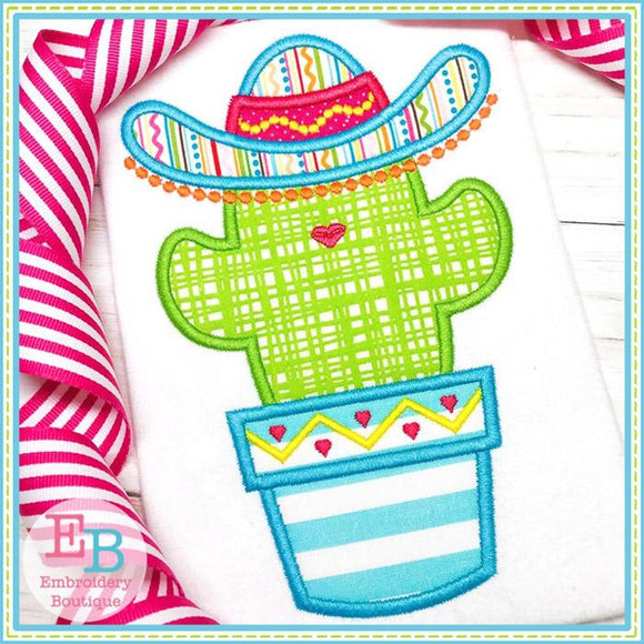 Cactus Sombrero with Pom Poms Applique