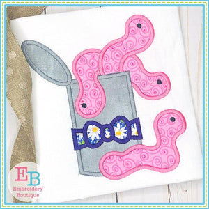 Can of Worms with Bow Applique