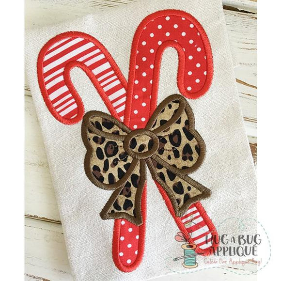 Candy Canes Bow Applique Design, Applique
