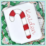Candy Cane No Tag Bean Applique