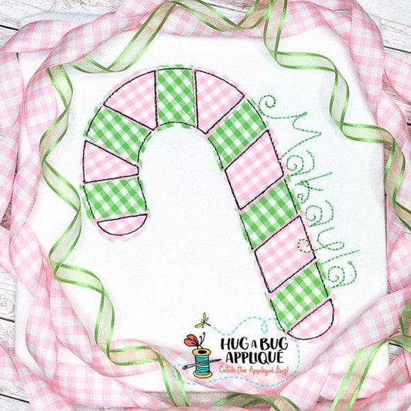 Candy Cane Bean Stitch Applique Design, Applique